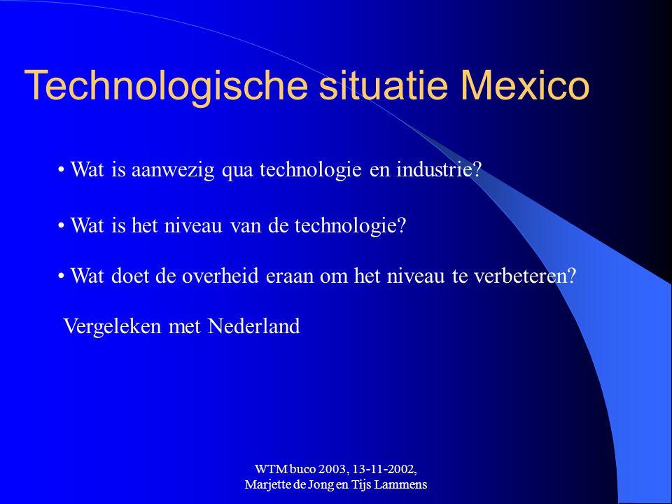 WTM buco 2003, 13-11-2002, Marjette de Jong en Tijs Lammens Technologische situatie Mexico • Wat is aanwezig qua technologie en industrie? • Wat is he