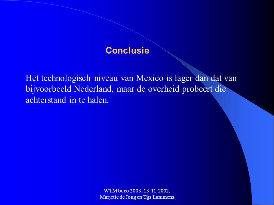 WTM buco 2003, 13-11-2002, Marjette de Jong en Tijs Lammens Conclusie Het technologisch niveau van Mexico is lager dan dat van bijvoorbeeld Nederland,