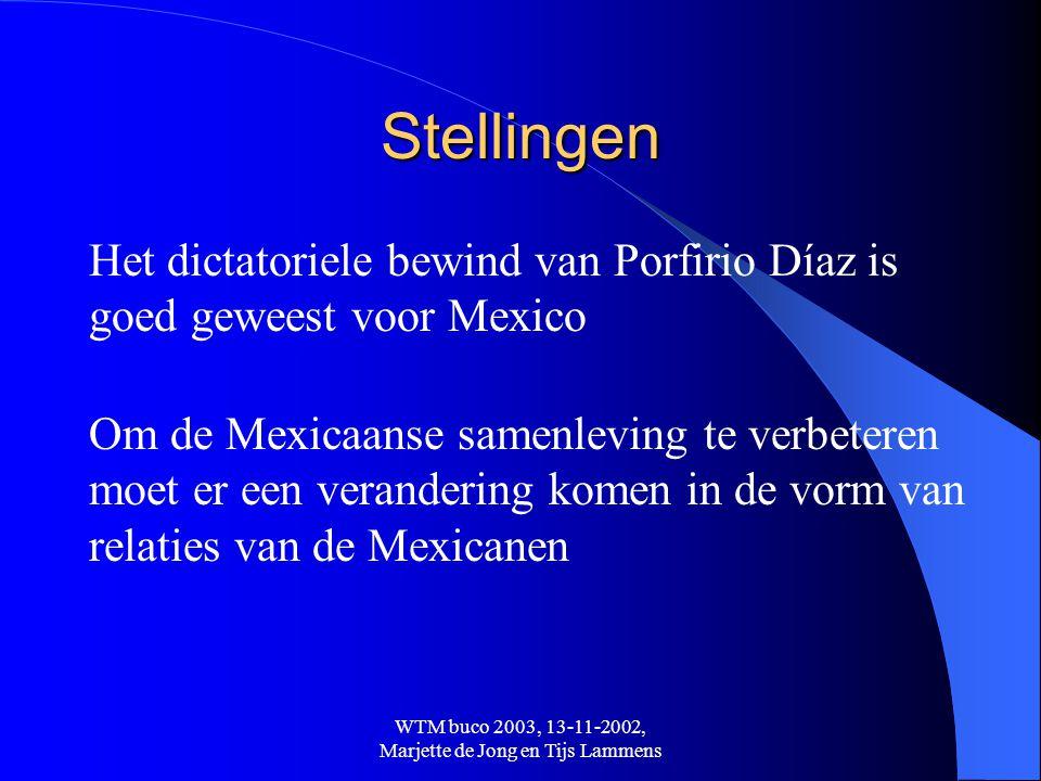 WTM buco 2003, 13-11-2002, Marjette de Jong en Tijs Lammens Stellingen Het dictatoriele bewind van Porfirio Díaz is goed geweest voor Mexico Om de Mex