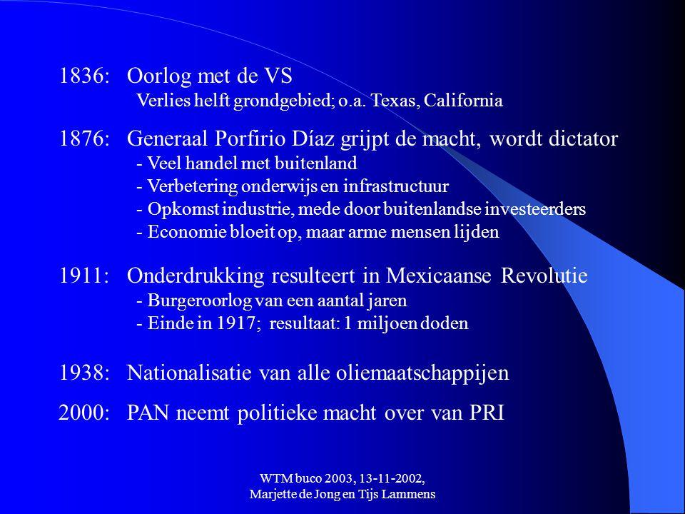 WTM buco 2003, 13-11-2002, Marjette de Jong en Tijs Lammens 1876:Generaal Porfirio Díaz grijpt de macht, wordt dictator - Veel handel met buitenland -