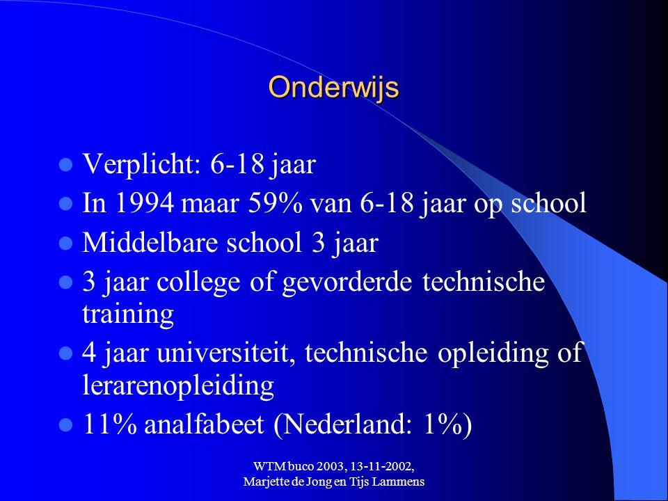 WTM buco 2003, 13-11-2002, Marjette de Jong en Tijs Lammens Onderwijs  Verplicht: 6-18 jaar  In 1994 maar 59% van 6-18 jaar op school  Middelbare s