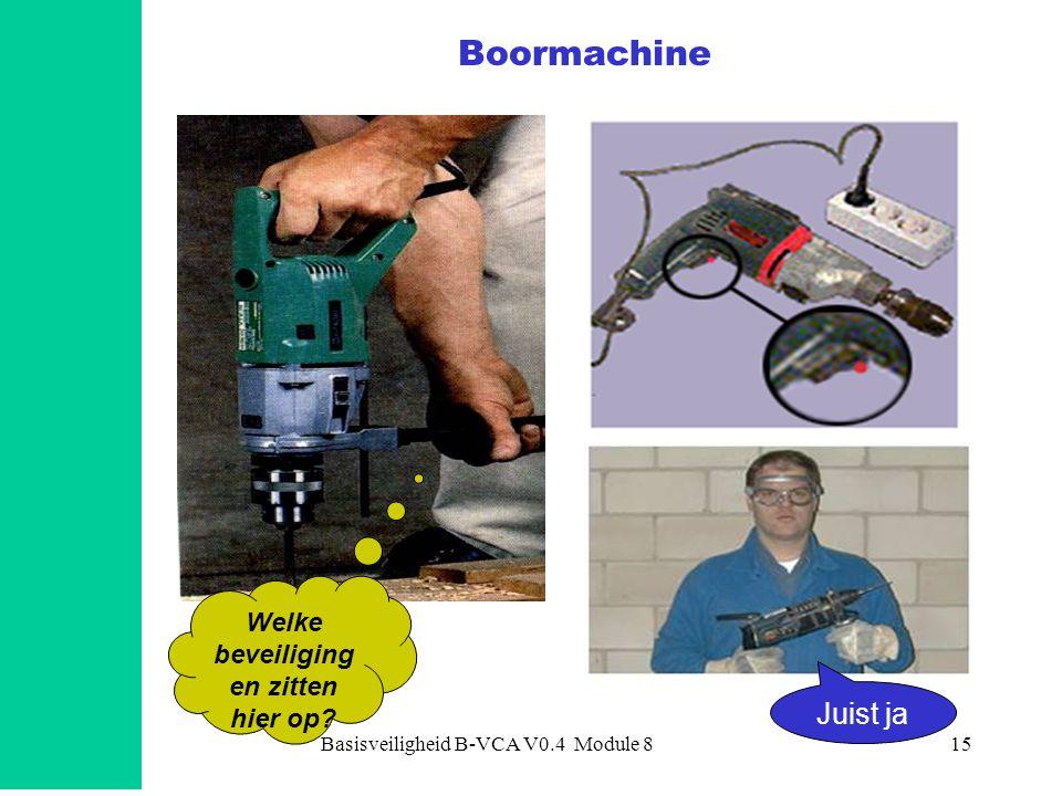 Basisveiligheid B-VCA V0.4 Module 816 •Haakse slijptol –elektrisch en –op perslucht •Beveiligingen elektrische machine: –dodemansknop –dubbelgeïsoleerd –dus GEEN stekker met randaarde Slijptol Welke risico's zijn er.