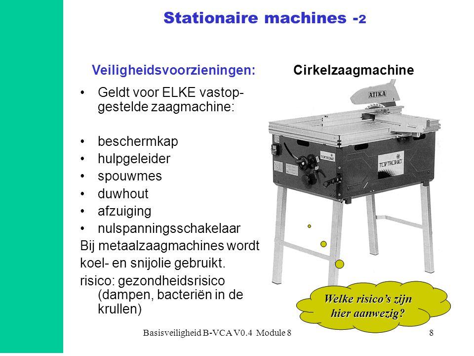Basisveiligheid B-VCA V0.4 Module 88 •Geldt voor ELKE vastop- gestelde zaagmachine: •beschermkap •hulpgeleider •spouwmes •duwhout •afzuiging •nulspann