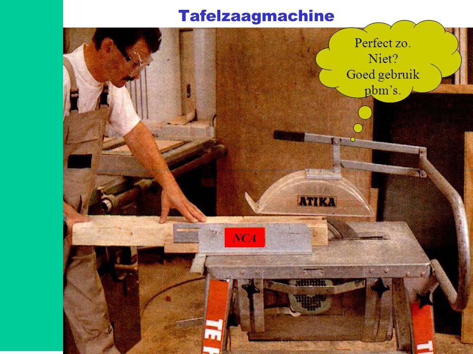 Basisveiligheid B-VCA V0.4 Module 89 Tafelzaagmachine NCA Perfect zo. Niet? Goed gebruik pbm's.