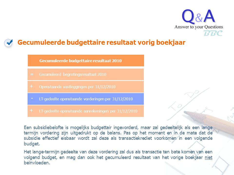 BBC Gecumuleerde budgettaire resultaat vorig boekjaar Een subsidiebelofte is mogelijks budgettair ingevorderd, maar zal gedeeltelijk als een lange ter