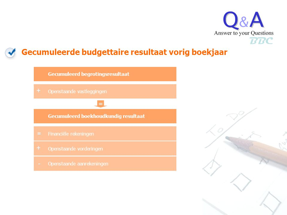 BBC Financiële rekeningen Openstaande vorderingen Openstaande aanrekeningen Gecumuleerd boekhoudkundig resultaat + - Gecumuleerd begrotingsresultaat O