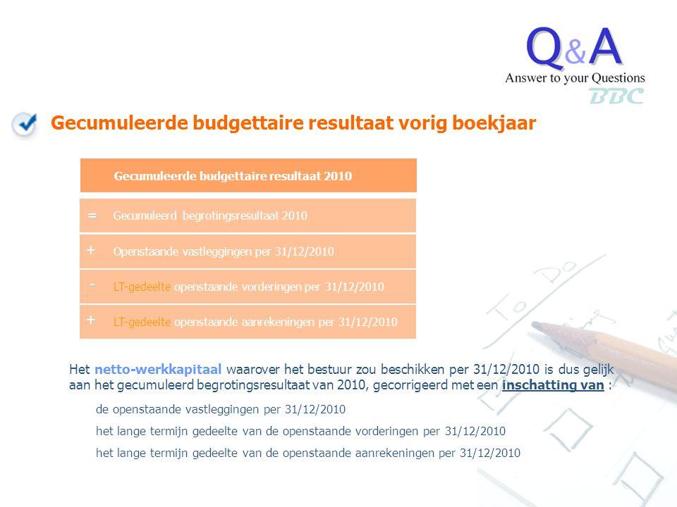 BBC Gecumuleerde budgettaire resultaat vorig boekjaar Openstaande vastleggingen per 31/12/2010 LT-gedeelte openstaande vorderingen per 31/12/2010 LT-g
