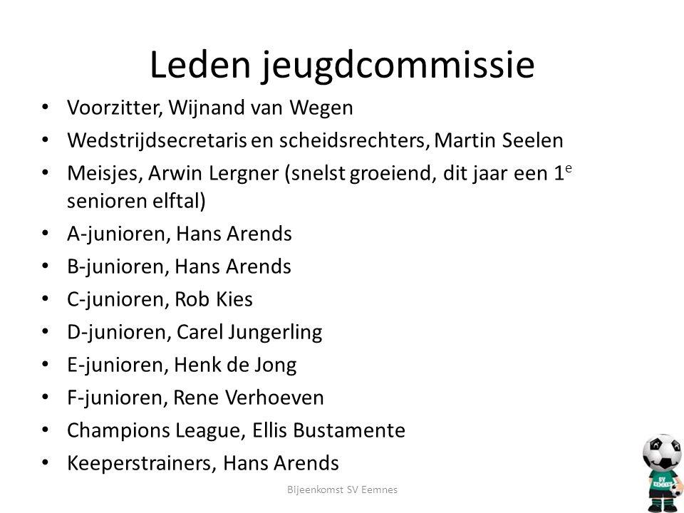 Leden jeugdcommissie • Voorzitter, Wijnand van Wegen • Wedstrijdsecretaris en scheidsrechters, Martin Seelen • Meisjes, Arwin Lergner (snelst groeiend