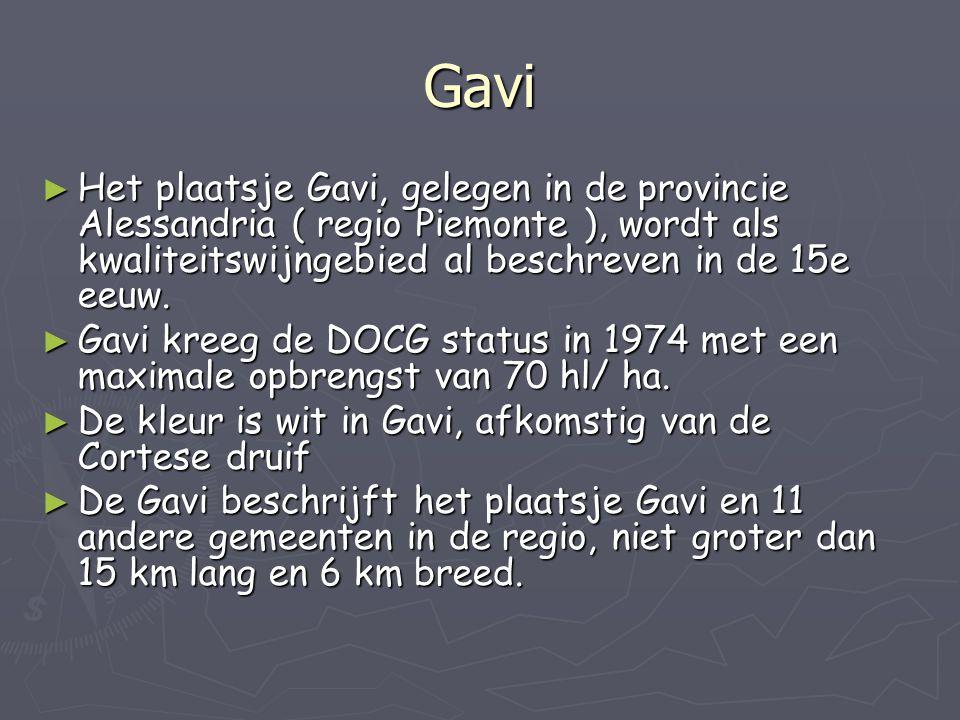 Gavi ► Het plaatsje Gavi, gelegen in de provincie Alessandria ( regio Piemonte ), wordt als kwaliteitswijngebied al beschreven in de 15e eeuw. ► Gavi