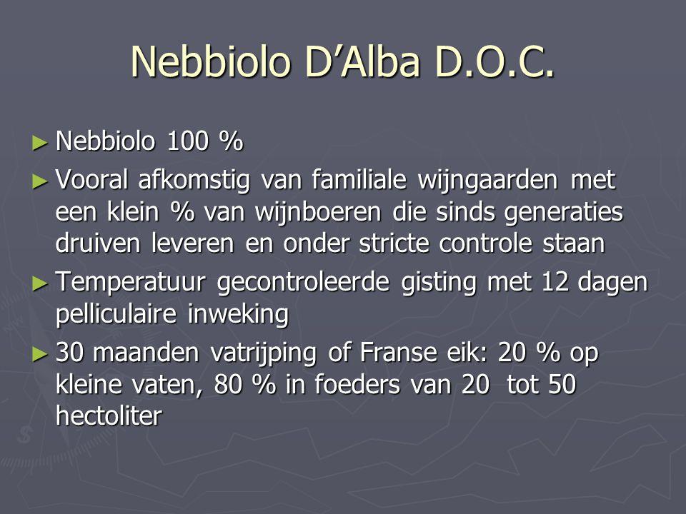 Nebbiolo D'Alba D.O.C. ► Nebbiolo 100 % ► Vooral afkomstig van familiale wijngaarden met een klein % van wijnboeren die sinds generaties druiven lever