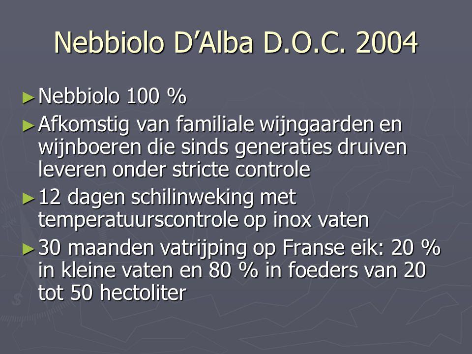 Nebbiolo D'Alba D.O.C. 2004 ► Nebbiolo 100 % ► Afkomstig van familiale wijngaarden en wijnboeren die sinds generaties druiven leveren onder stricte co