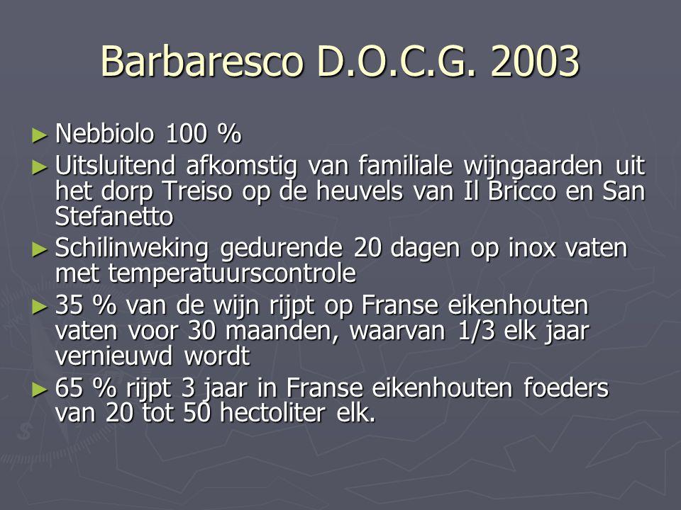 Barbaresco D.O.C.G. 2003 ► Nebbiolo 100 % ► Uitsluitend afkomstig van familiale wijngaarden uit het dorp Treiso op de heuvels van Il Bricco en San Ste
