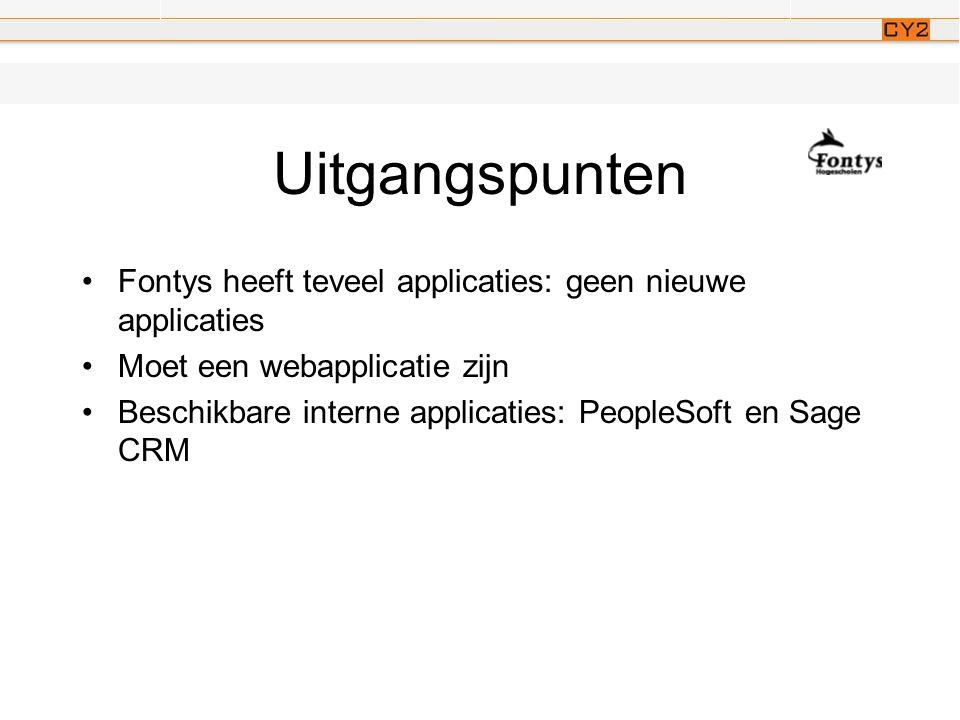 Uitgangspunten •Fontys heeft teveel applicaties: geen nieuwe applicaties •Moet een webapplicatie zijn •Beschikbare interne applicaties: PeopleSoft en Sage CRM