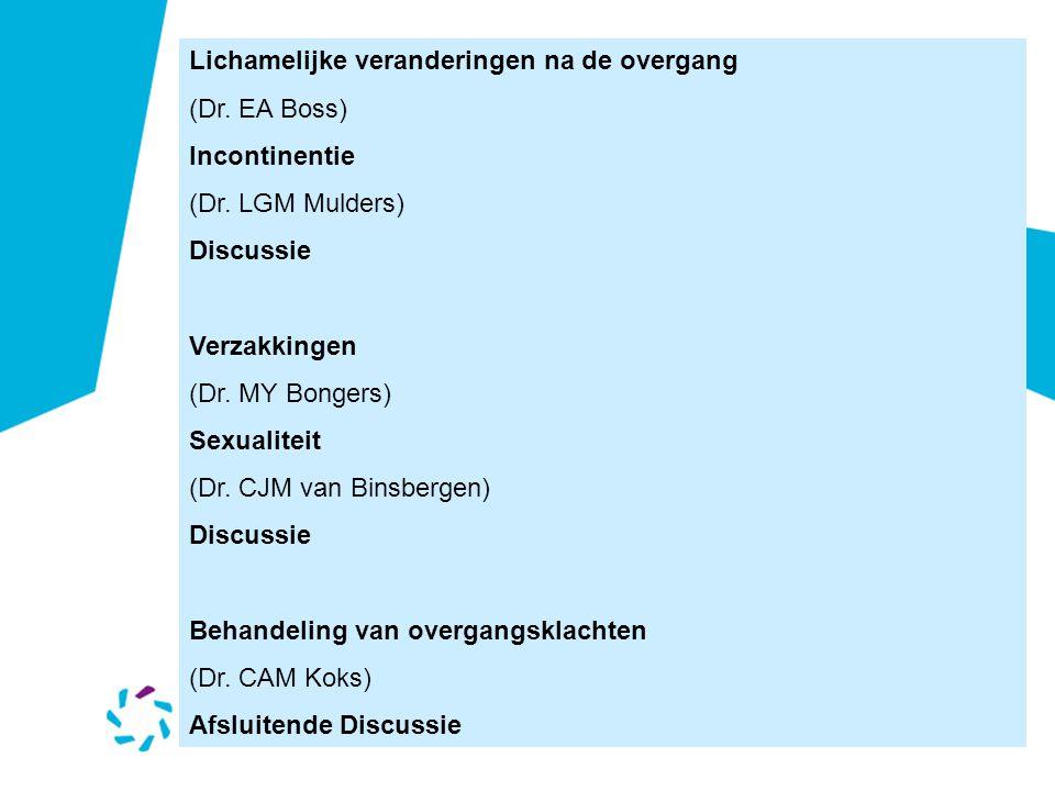 Lichamelijke veranderingen na de overgang (Dr. EA Boss) Incontinentie (Dr. LGM Mulders) Discussie Verzakkingen (Dr. MY Bongers) Sexualiteit (Dr. CJM v