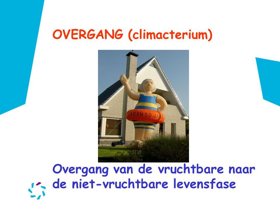 OVERGANG (climacterium) Overgang van de vruchtbare naar de niet-vruchtbare levensfase