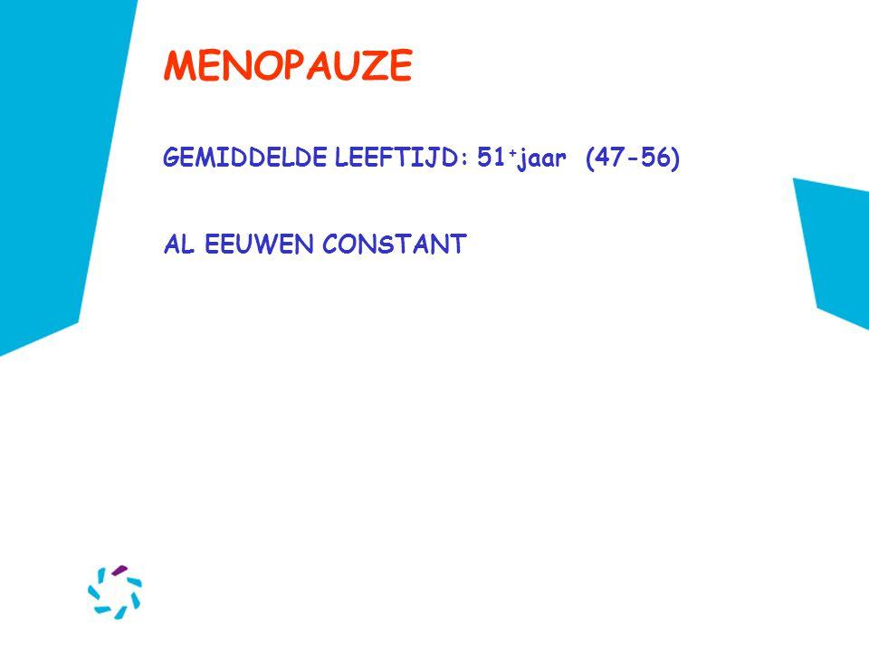 MENOPAUZE GEMIDDELDE LEEFTIJD: 51 + jaar (47-56) AL EEUWEN CONSTANT