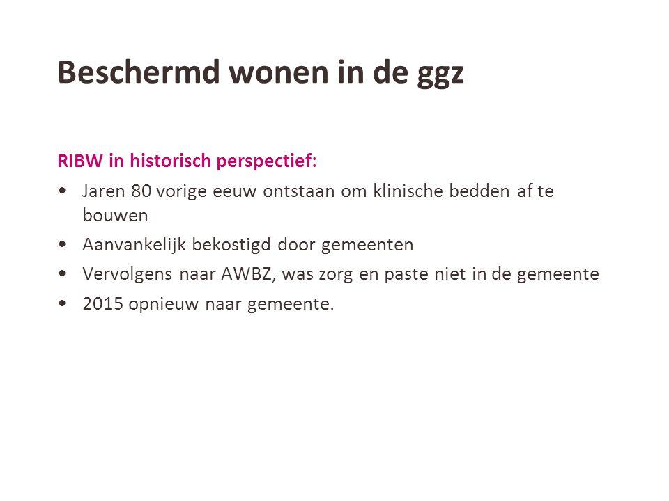 Beschermd wonen in de ggz De cijfers: •45.000 mensen in AWBZ met ggz grondslag: –35.000 in een RIBW (ZZPC) –10.000 in een ggz instelling (ZZPB) •Ieder jaar groei met ongeveer 5% •Uitstroom 15% na gemiddeld 36 maanden, vooral ZZPC3 •Per RIBW gemiddeld 112 mensen op de wachtlijst voor BW die 236 dagen wachten op plaatsing.