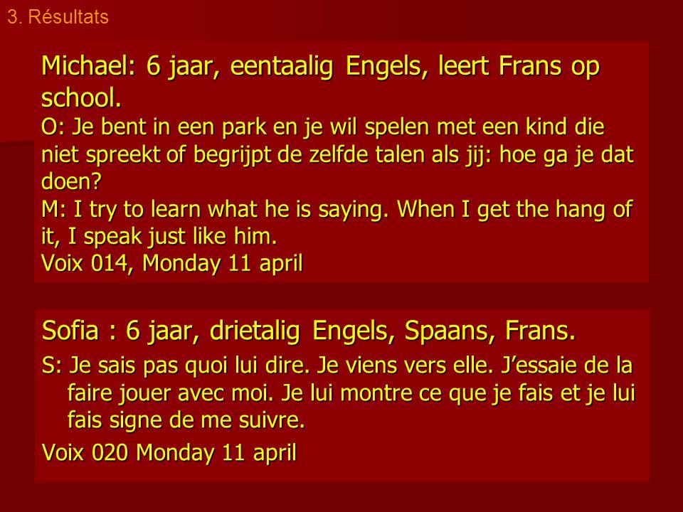 Michael: 6 jaar, eentaalig Engels, leert Frans op school. O: Je bent in een park en je wil spelen met een kind die niet spreekt of begrijpt de zelfde