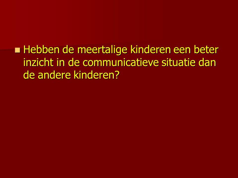  Hebben de meertalige kinderen een beter inzicht in de communicatieve situatie dan de andere kinderen