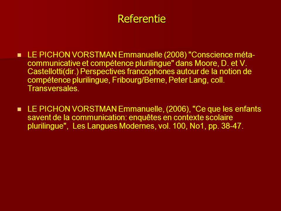   LE PICHON VORSTMAN Emmanuelle (2008) Conscience méta- communicative et compétence plurilingue dans Moore, D.