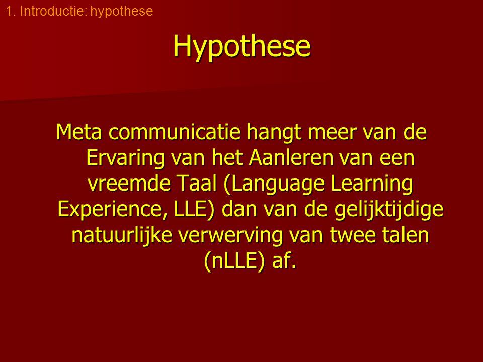 Hypothese Meta communicatie hangt meer van de Ervaring van het Aanleren van een vreemde Taal (Language Learning Experience, LLE) dan van de gelijktijdige natuurlijke verwerving van twee talen (nLLE) af.