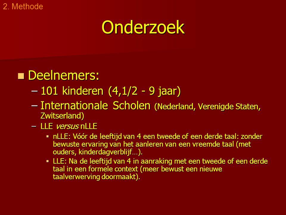 Onderzoek  Deelnemers: –101 kinderen (4,1/2 - 9 jaar) –Internationale Scholen (Nederland, Verenigde Staten, Zwitserland) –LLE versus nLLE  nLLE: Vóó