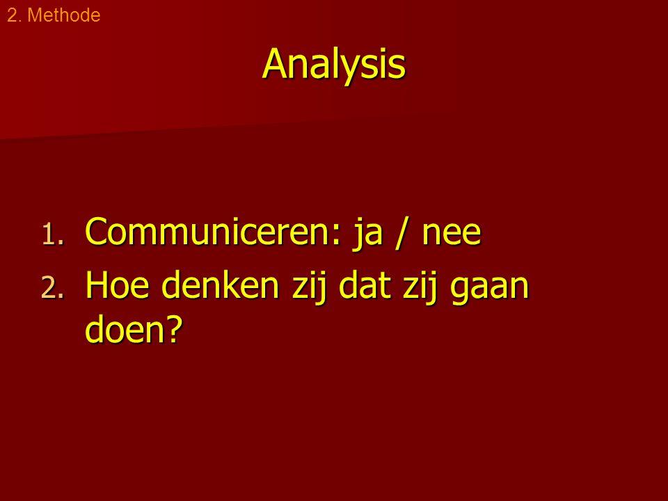 Analysis 1. Communiceren: ja / nee 2. Hoe denken zij dat zij gaan doen 2. Methode