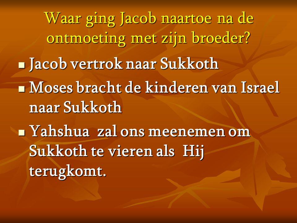 Waar ging Jacob naartoe na de ontmoeting met zijn broeder?  Jacob vertrok naar Sukkoth  Moses bracht de kinderen van Israel naar Sukkoth  Yahshua z