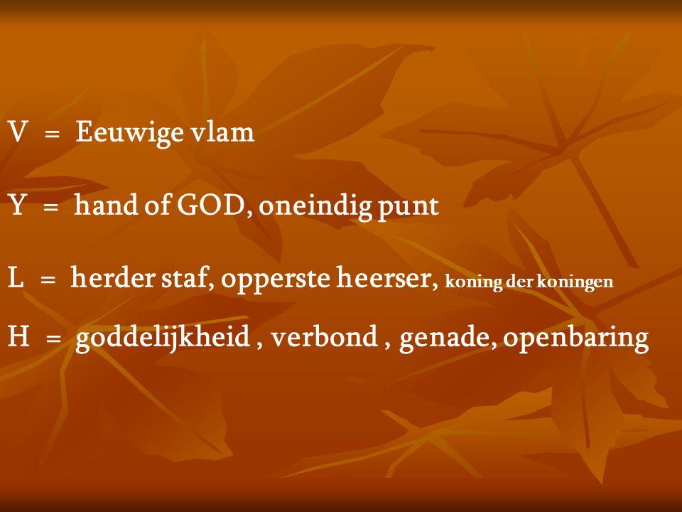 V = Eeuwige vlam Y = hand of GOD, oneindig punt L = herder staf, opperste heerser, koning der koningen H = goddelijkheid, verbond, genade, openbaring