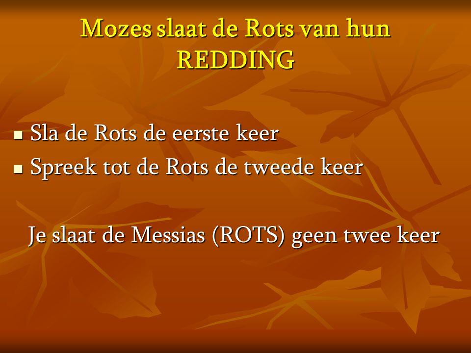 Mozes slaat de Rots van hun REDDING  Sla de Rots de eerste keer  Spreek tot de Rots de tweede keer Je slaat de Messias (ROTS) geen twee keer