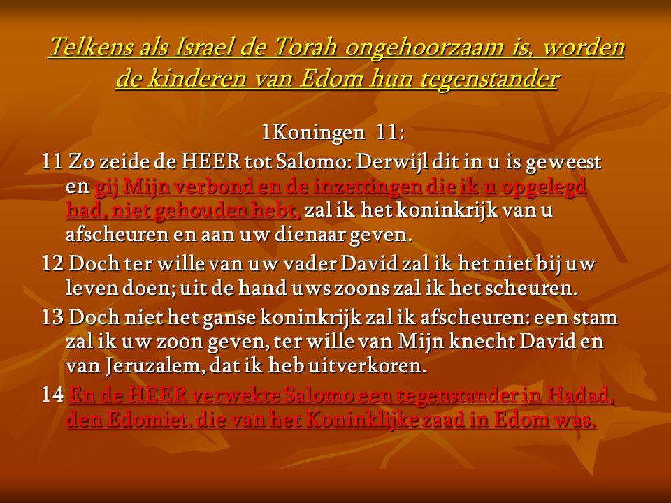 Telkens als Israel de Torah ongehoorzaam is, worden de kinderen van Edom hun tegenstander 1Koningen 11: 11 Zo zeide de HEER tot Salomo: Derwijl dit in