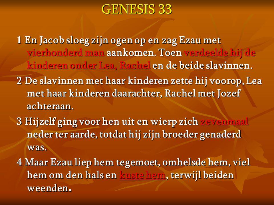 GENESIS 33 1 En Jacob sloeg zijn ogen op en zag Ezau met vierhonderd man aankomen. Toen verdeelde hij de kinderen onder Lea, Rachel en de beide slavin