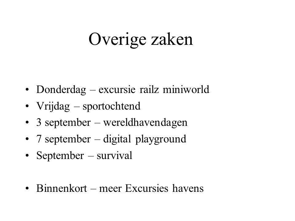 Overige zaken •Donderdag – excursie railz miniworld •Vrijdag – sportochtend •3 september – wereldhavendagen •7 september – digital playground •Septemb