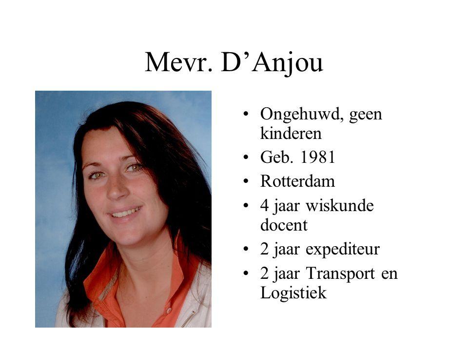 Mevr. D'Anjou •Ongehuwd, geen kinderen •Geb. 1981 •Rotterdam •4 jaar wiskunde docent •2 jaar expediteur •2 jaar Transport en Logistiek