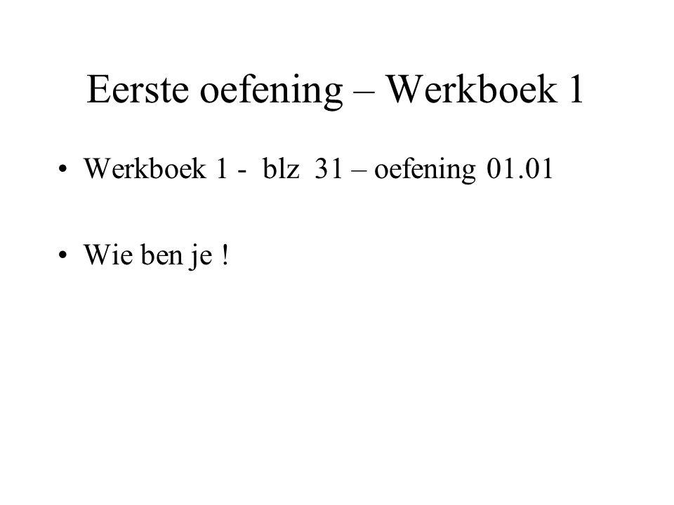 Eerste oefening – Werkboek 1 •Werkboek 1 - blz 31 – oefening 01.01 •Wie ben je !