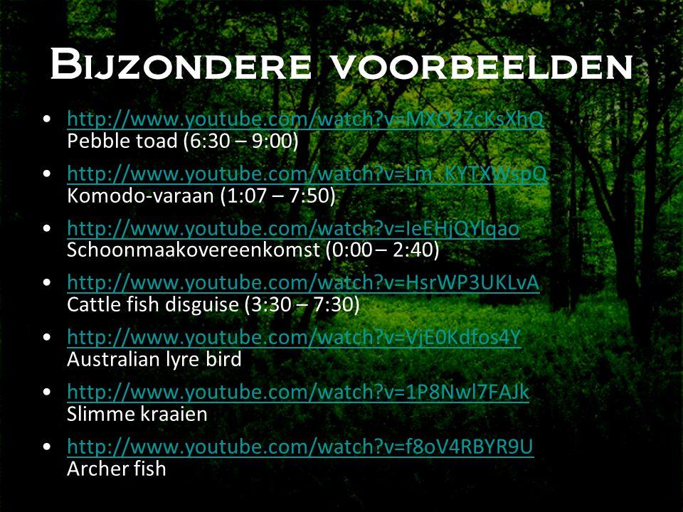 Bijzondere voorbeelden •http://www.youtube.com/watch?v=MXO2ZcKsXhQ Pebble toad (6:30 – 9:00)http://www.youtube.com/watch?v=MXO2ZcKsXhQ •http://www.youtube.com/watch?v=Lm_KYTXWspQ Komodo-varaan (1:07 – 7:50)http://www.youtube.com/watch?v=Lm_KYTXWspQ •http://www.youtube.com/watch?v=IeEHjQYlqao Schoonmaakovereenkomst (0:00 – 2:40)http://www.youtube.com/watch?v=IeEHjQYlqao •http://www.youtube.com/watch?v=HsrWP3UKLvA Cattle fish disguise (3:30 – 7:30)http://www.youtube.com/watch?v=HsrWP3UKLvA •http://www.youtube.com/watch?v=VjE0Kdfos4Y Australian lyre birdhttp://www.youtube.com/watch?v=VjE0Kdfos4Y •http://www.youtube.com/watch?v=1P8Nwl7FAJk Slimme kraaienhttp://www.youtube.com/watch?v=1P8Nwl7FAJk •http://www.youtube.com/watch?v=f8oV4RBYR9U Archer fishhttp://www.youtube.com/watch?v=f8oV4RBYR9U