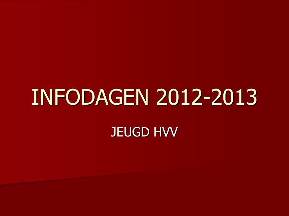 PROGRAMMA  WERKING JEUGD HVV  INTERNE REGELS – INFOBROCHURE - WEBSITE  LIDGELD  LABELING KBVB 2012-2013  AUDIT FOOTPASS 2012  INDELING NATIONAAL-GEWESTELIJK  OPLEIDINGSPLAN PER LEEFTIJD  VOORBEREIDING 2012-2013  OUDERRAAD  VOORSTELLING TRAINERS  VRAGENRONDE