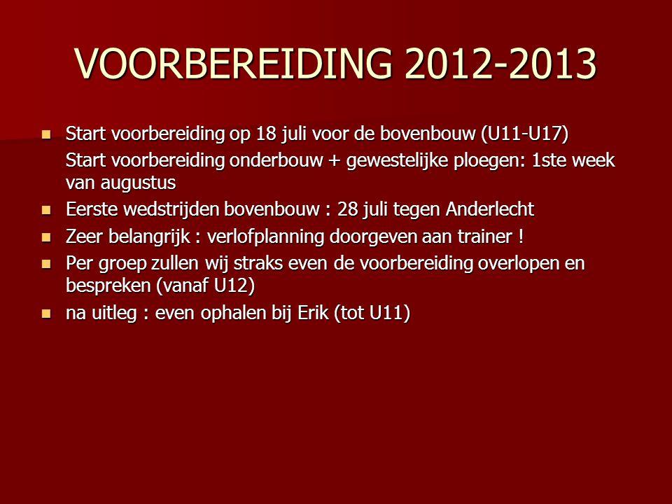 VOORBEREIDING 2012-2013  Start voorbereiding op 18 juli voor de bovenbouw (U11-U17) Start voorbereiding onderbouw + gewestelijke ploegen: 1ste week v
