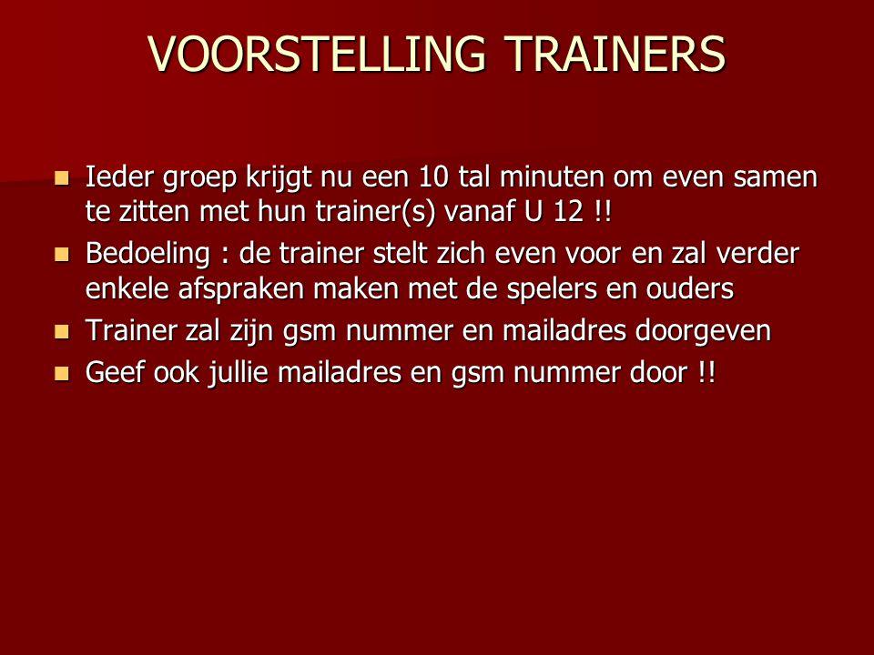 VOORSTELLING TRAINERS  Ieder groep krijgt nu een 10 tal minuten om even samen te zitten met hun trainer(s) vanaf U 12 !!  Bedoeling : de trainer ste