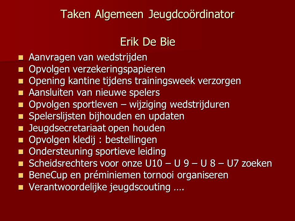 Taken Algemeen Jeugdcoördinator Erik De Bie  Aanvragen van wedstrijden  Opvolgen verzekeringspapieren  Opening kantine tijdens trainingsweek verzor