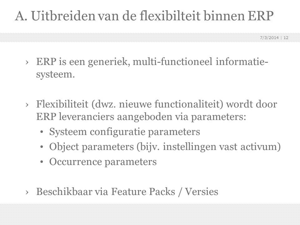 A. Uitbreiden van de flexibilteit binnen ERP ›ERP is een generiek, multi-functioneel informatie- systeem. ›Flexibiliteit (dwz. nieuwe functionaliteit)