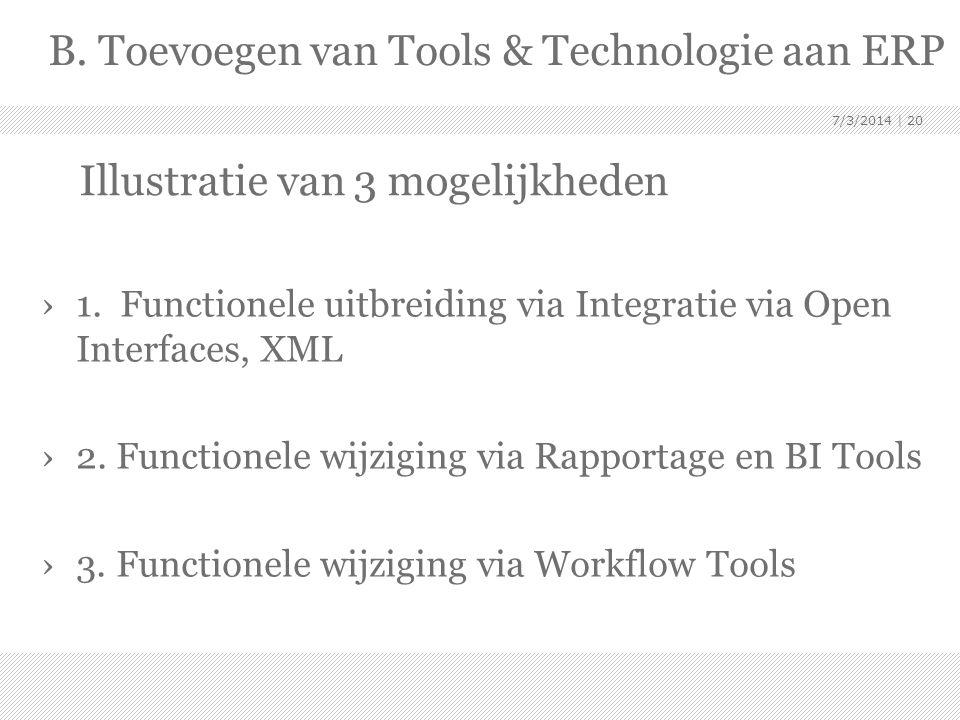 Illustratie van 3 mogelijkheden ›1. Functionele uitbreiding via Integratie via Open Interfaces, XML ›2. Functionele wijziging via Rapportage en BI Too