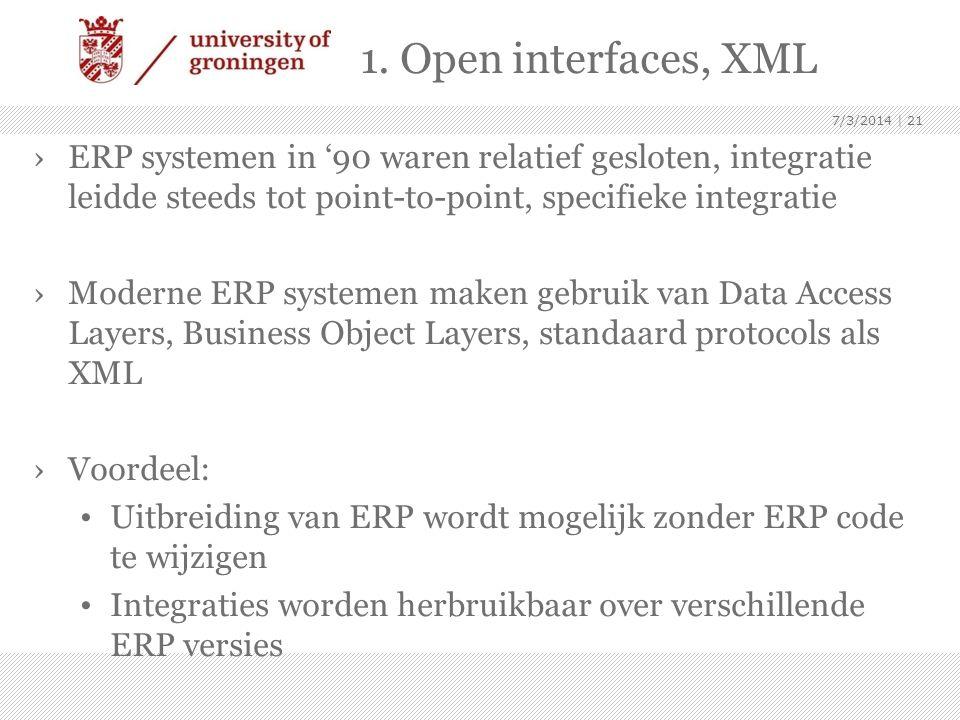 1. Open interfaces, XML ›ERP systemen in '90 waren relatief gesloten, integratie leidde steeds tot point-to-point, specifieke integratie ›Moderne ERP