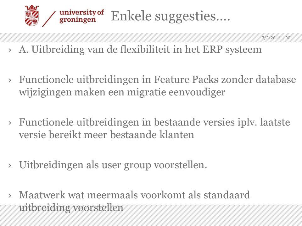 Enkele suggesties…. ›A. Uitbreiding van de flexibiliteit in het ERP systeem ›Functionele uitbreidingen in Feature Packs zonder database wijzigingen ma