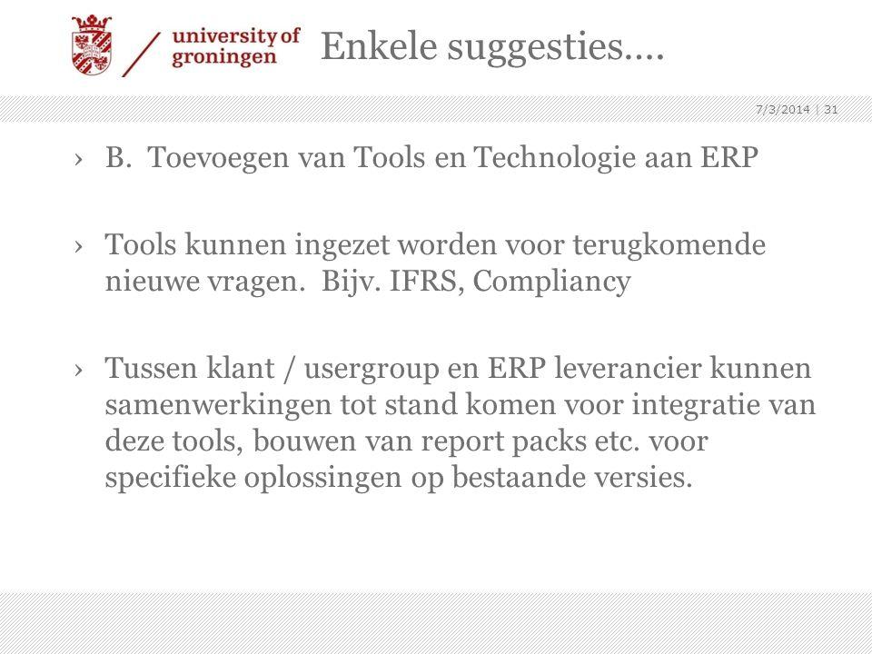 Enkele suggesties…. ›B. Toevoegen van Tools en Technologie aan ERP ›Tools kunnen ingezet worden voor terugkomende nieuwe vragen. Bijv. IFRS, Complianc