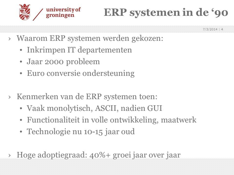ERP systemen in de '90 ›Waarom ERP systemen werden gekozen: • Inkrimpen IT departementen • Jaar 2000 probleem • Euro conversie ondersteuning ›Kenmerke