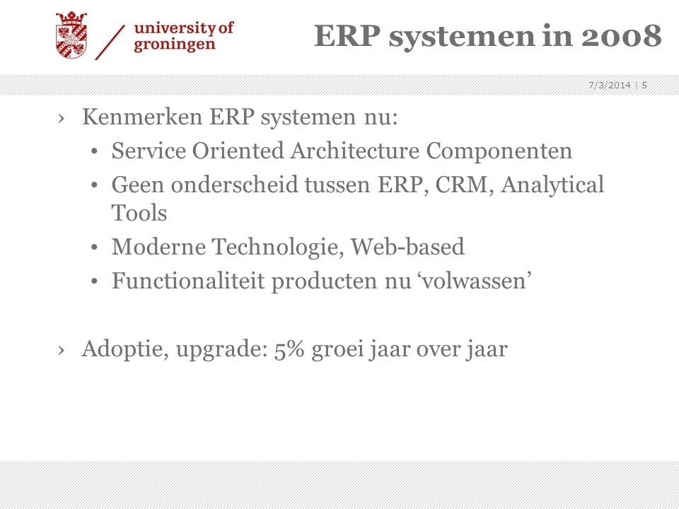 ERP systemen in 2008 ›Kenmerken ERP systemen nu: • Service Oriented Architecture Componenten • Geen onderscheid tussen ERP, CRM, Analytical Tools • Mo