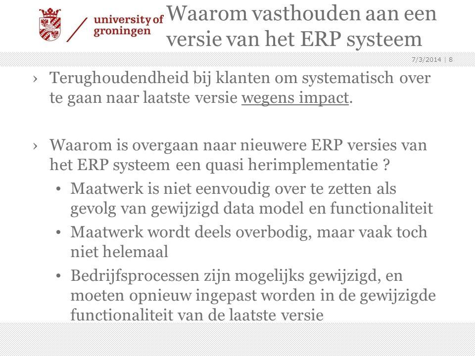 Waarom vasthouden aan een versie van het ERP systeem ›Terughoudendheid bij klanten om systematisch over te gaan naar laatste versie wegens impact. ›Wa