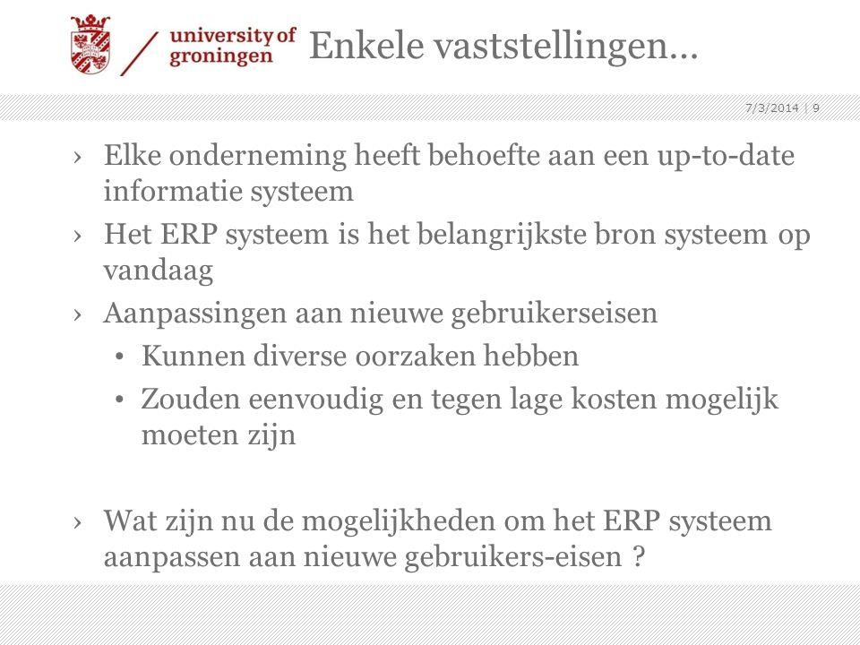 7/3/2014 | 10 2. Hoe ondersteunen ERP systemen wijziging voor een klant ?
