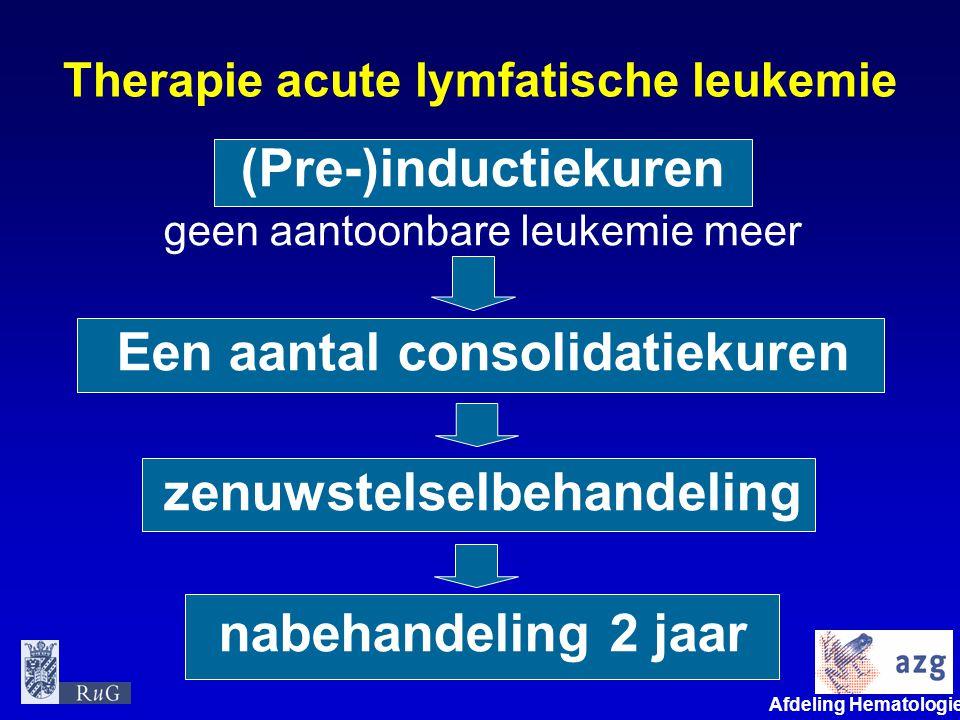 Afdeling Hematologie umcg Therapie acute lymfatische leukemie (Pre-)inductiekuren geen aantoonbare leukemie meer Een aantal consolidatiekuren zenuwste
